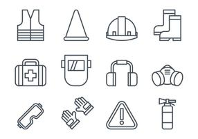 Icone delle attrezzature per la sicurezza del lavoro