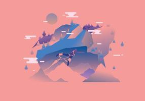 Bungee Jump con Mountain View Vector