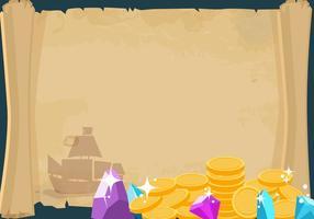 Banner pirata con il tesoro vettore