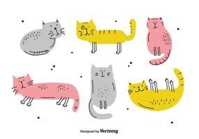 Set di gatti disegnati a mano vettore