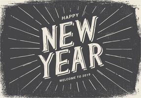 Illustrazione d'annata del buon anno 2019 di stile