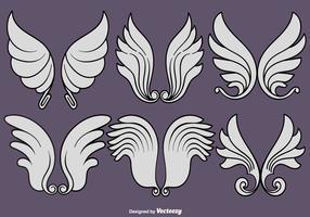 Insieme di vettore delle icone delle ali di angelo