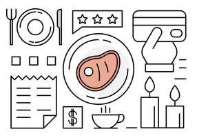 Icone del ristorante lineare vettore