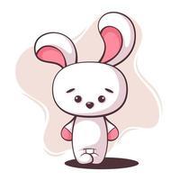 simpatico cartone animato coniglio bianco vettore