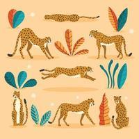 raccolta di simpatici ghepardi disegnati a mano su sfondo arancione