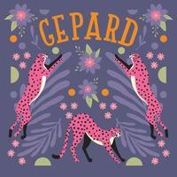 collezione di simpatici ghepardi rosa che saltano e si allungano vettore