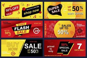 set di banner di vendita per lo shopping online