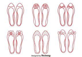 Vettore linea delle scarpe delle pantofole vermiglie