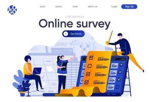 pagina di destinazione piatta del sondaggio online vettore