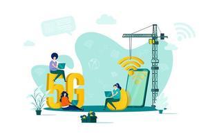 5g concetto di internet in stile piatto vettore