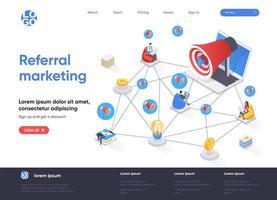 pagina di destinazione isometrica di referral marketing vettore