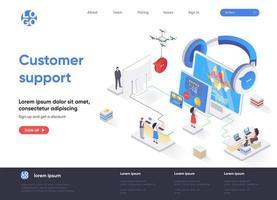 pagina di destinazione isometrica dell'assistenza clienti vettore