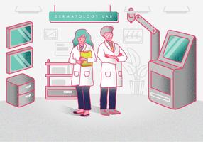 Dermatologo At Dermatology Laboratorium Vector Illustration