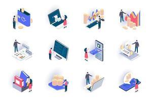 set di icone isometriche di contabilità aziendale vettore