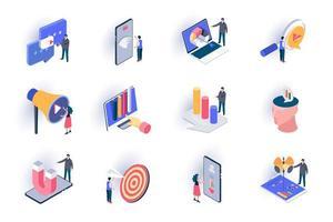 smm marketing set di icone isometriche vettore