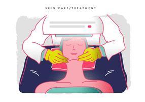 Trattamento di cura di pelle dall'illustrazione di vettore del dermatologo