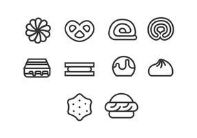 Set di icone di biscotti vettore