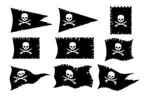 Insieme di vettore della bandiera del pirata