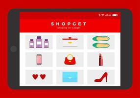 Vettore libero di acquisto online delle pantofole vermiglie rosse
