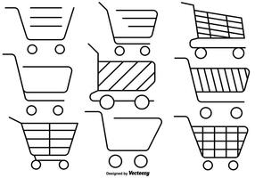 Insieme delle icone del carrello del supermercato di stile di linea vettore