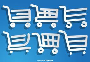 Icone disegnate a mano del carretto del supermercato di vettore messe
