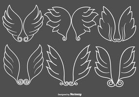 Insieme di vettore delle icone delle ali di angelo di stile della linea bianca