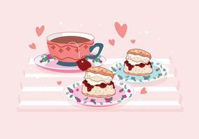 Un bicchiere di tè e un vettore di focaccina