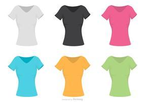 Vettore del modello della camicia del collo a V femminile
