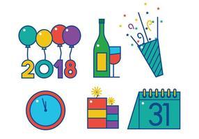 Felice anno nuovo insieme vettoriale