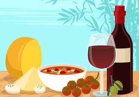 Vettore di antipasto di formaggio e vino