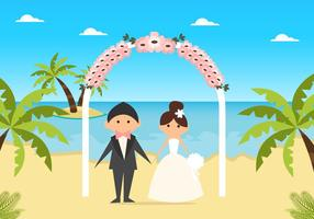 Matrimonio carino sulla spiaggia piatta vettore