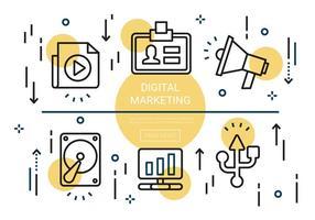 Elementi di marketing digitale lineare piatto gratuito vettore