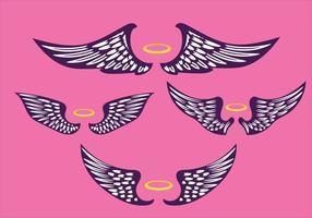 set di illustrazione vintage ali viola vettore