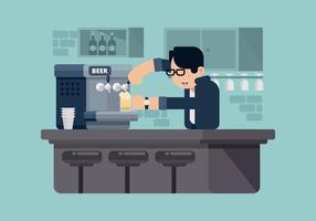 Illustrazione della birra di servire del barista