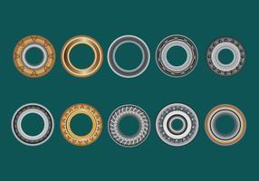 Impostare occhielli, rondella piana e occhielli su uno sfondo verde vettore