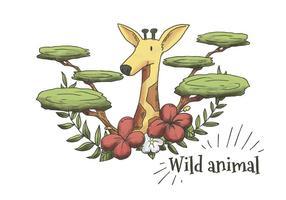 Carino Acquerello Giraffa con foglie, piante e fiori
