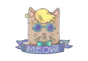 Divertente personaggio di gatto hipster con nastro e frase di miagolio vettore