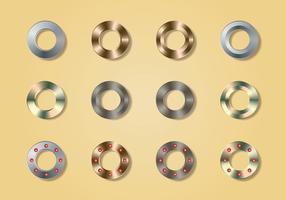 Collezione di bottoni metallici in metallo vettore