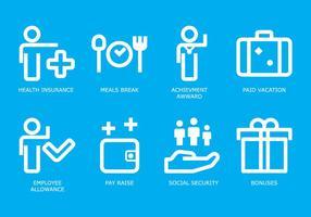 Set di icone di beneficio vettore
