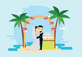 Cerimonia di nozze sull'illustrazione della spiaggia