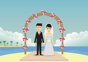 Cerimonia di nozze sull'illustrazione della spiaggia vettore