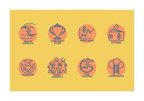 Benefici dei dipendenti icone vettoriali