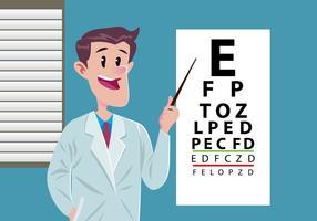 Eye Test con un giovane dottore vettore