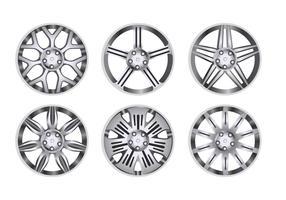 Set di ruote in lega per auto vettore