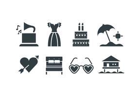 Icone di vettore di matrimonio spiaggia