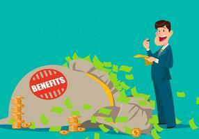 L'uomo d'affari calcola i benefici