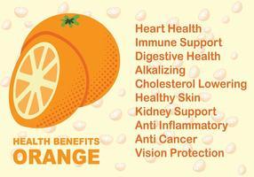 Vettore di benefici per la salute di frutta arancione