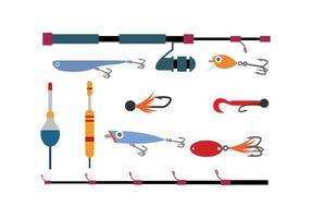 Vettore piano dell'icona degli strumenti liberi di pesca