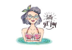 Carattere Pin Up dell'acquerello con costumi da bagno e occhiali da sole con citazione estiva