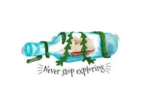 Bottiglia dell'acquerello con nave all'interno e alghe con citazione vettore
